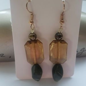Golden/ Yellow Crystal/ and Green Earrings